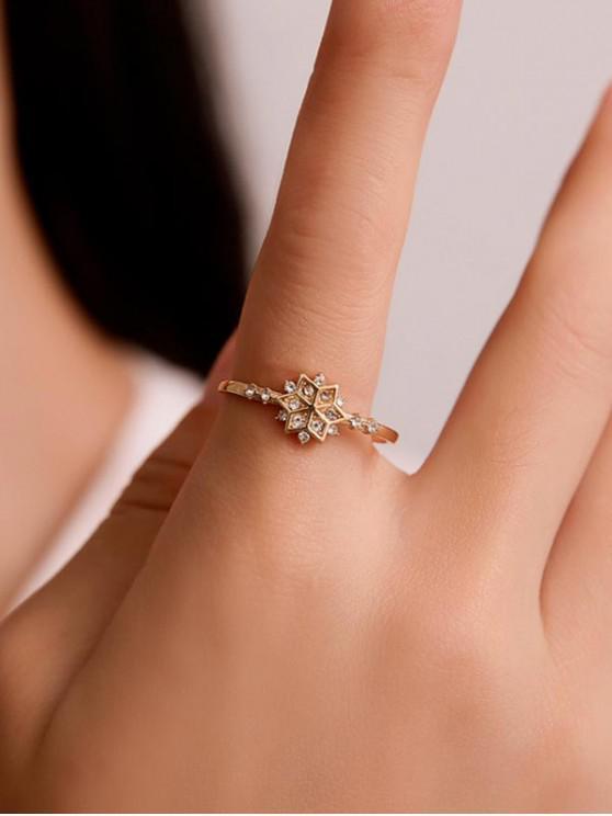 ทองแดง Rhinestone Snowflake แหวน - ทอง US 8