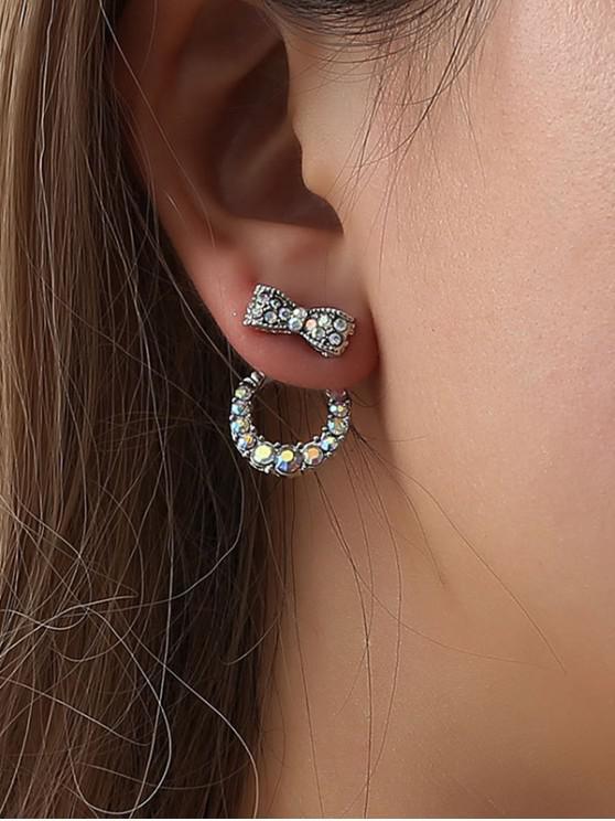 ladies Bowknot Rhinestone Ring Stud Earrings - SILVER