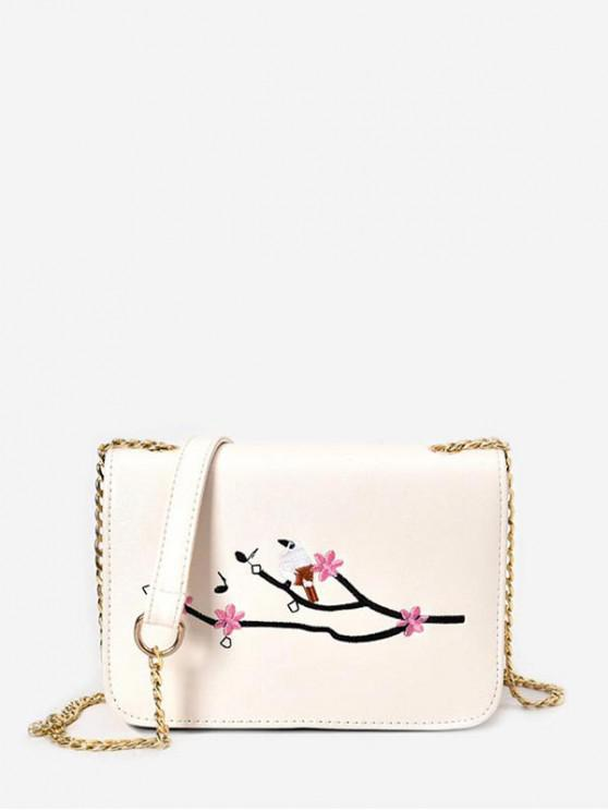 hot Embroidery Chain Small Square Crossbody Bag - WARM WHITE