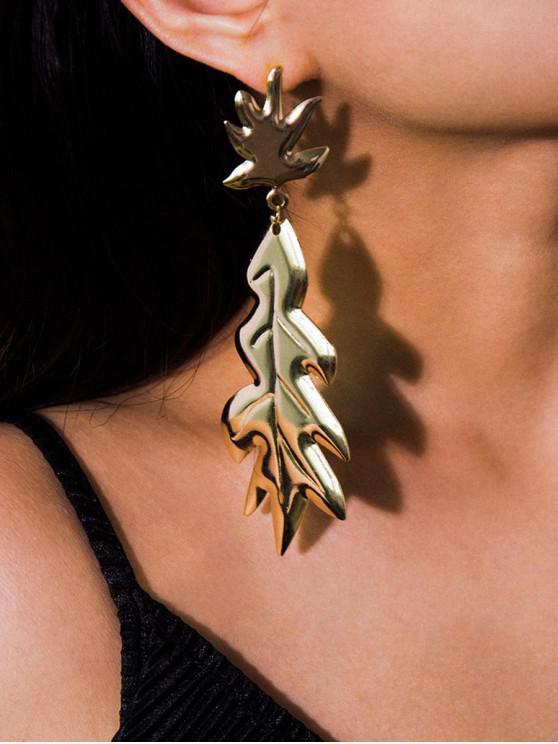 shop Mirror Maple Leaf Pattern Earrings - GOLD