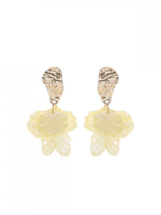 fashion Irregular Petals 925 Silver Stud Earrings - SUN YELLOW