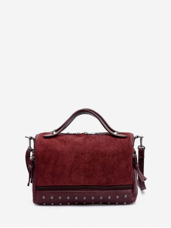 fancy Rivet Jointed Boston Bag - RED WINE