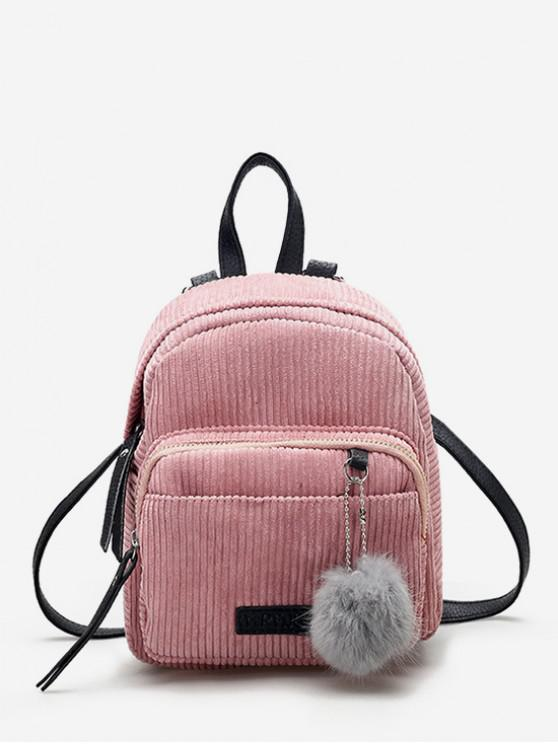 sale Canvas Fuzzy Ball Small Backpack - PINK