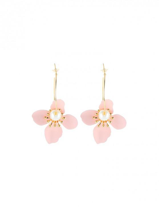 womens Pearl Flower Hoop Earrings - PINK