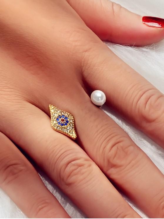 眼形水鑽仿珍珠戒指 - 金