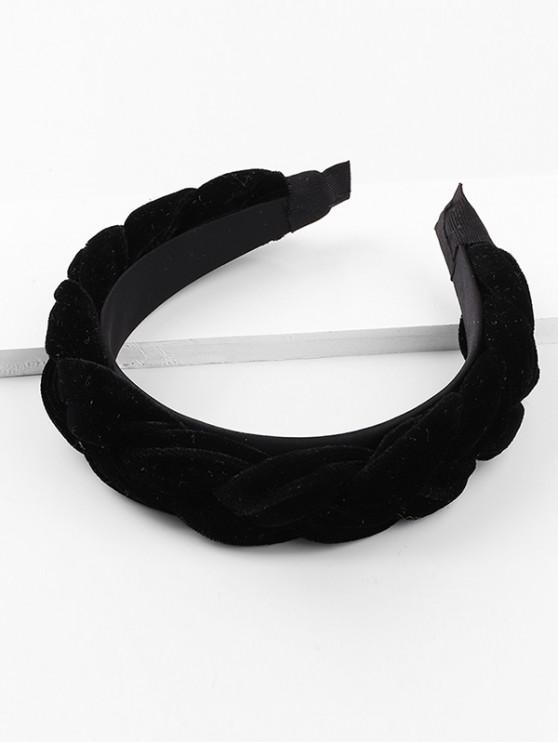 chic Velour Solid Braid Wide Hairband - BLACK