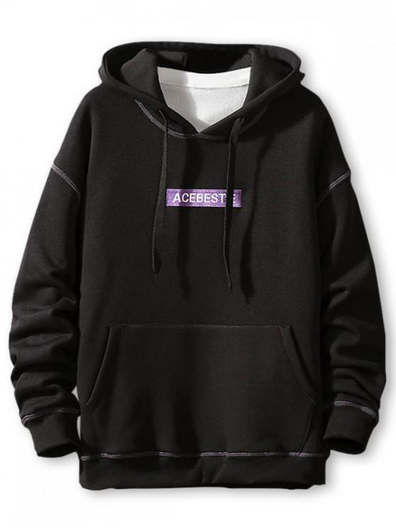 shop Letter Embroidery Contrast Stitching Fleece Hoodie - BLACK 3XL