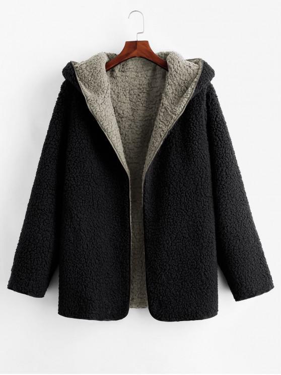 fancy Hooded Open Front Lamb Wool Teddy Coat - GRAY S
