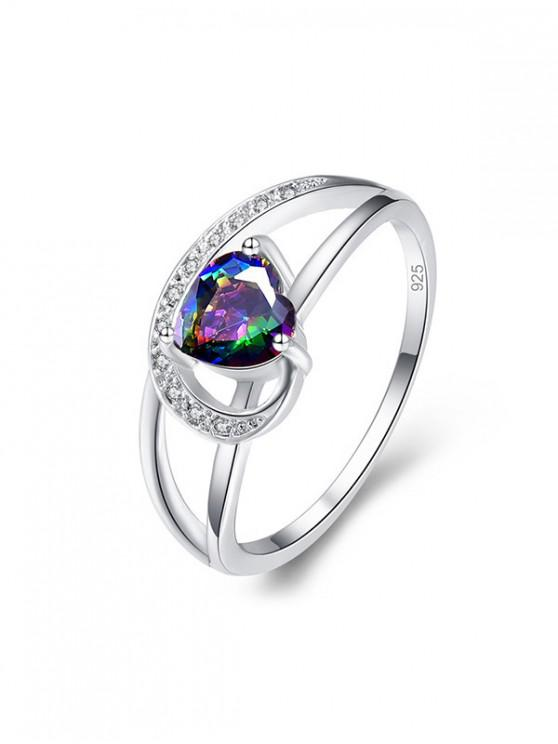 lady Hollow Heart Zircon Engagement Ring - SILVER US 6