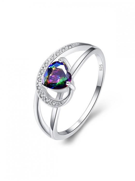 空心形鋯石訂婚戒指 - 銀 美國7