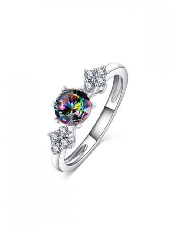 金屬圓鋯石訂婚戒指 - 銀 美國6