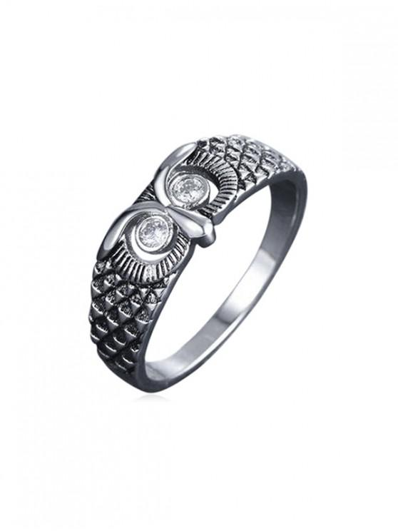sale Owl Rhinestone Hollow Engraved Ring - SILVER US 8