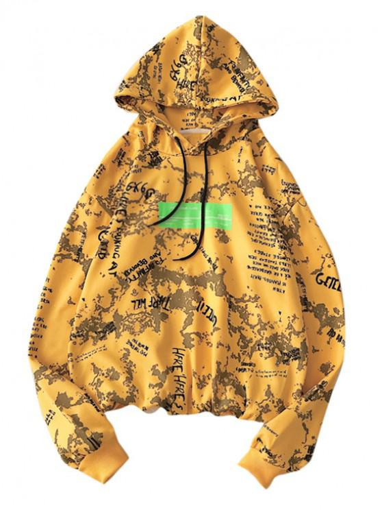 chic Letter Graphic Print Drawstring Hoodie - YELLOW 2XL