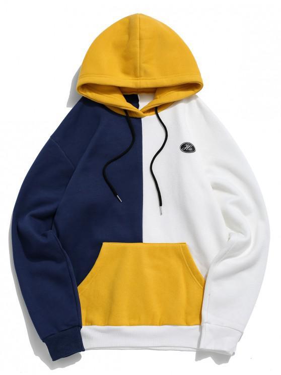 online Colorblock Splicing Logo Print Pullover Fleece Hoodie - CADETBLUE M