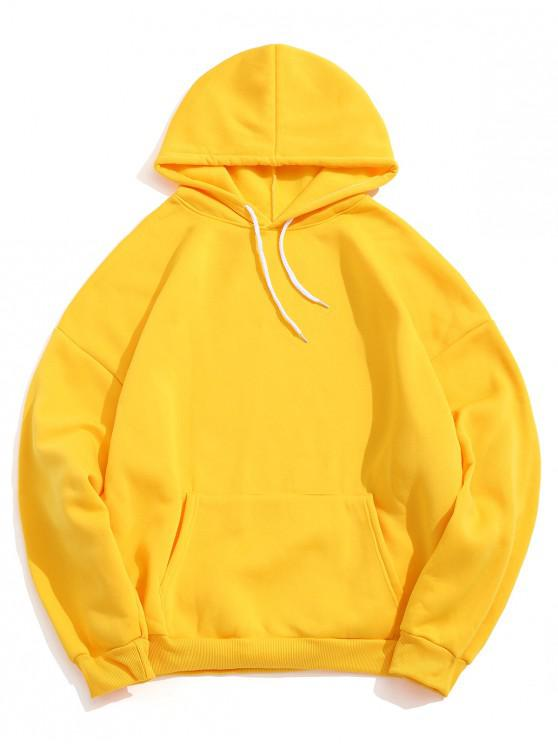 women Solid Color Pocket Design Casual Hoodie - YELLOW 2XL