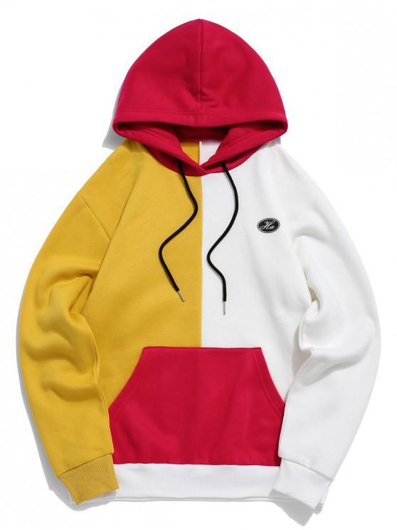 trendy Colorblock Splicing Logo Print Pullover Fleece Hoodie - BRIGHT YELLOW M