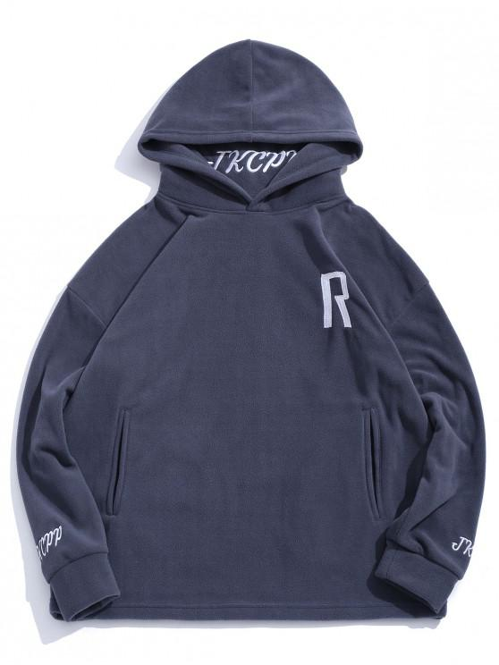 shop Letter Embroidered Casual Hoodie - GRAY 2XL