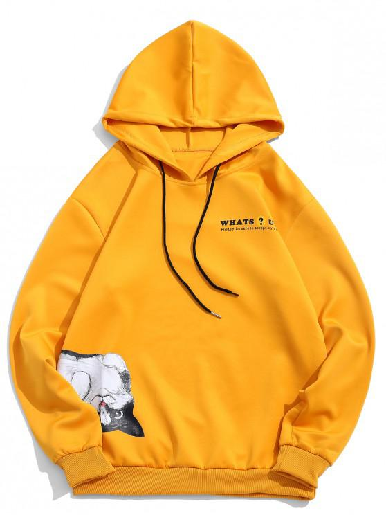 women Animal Cat Letter Print Drawstring Hoodie - YELLOW L