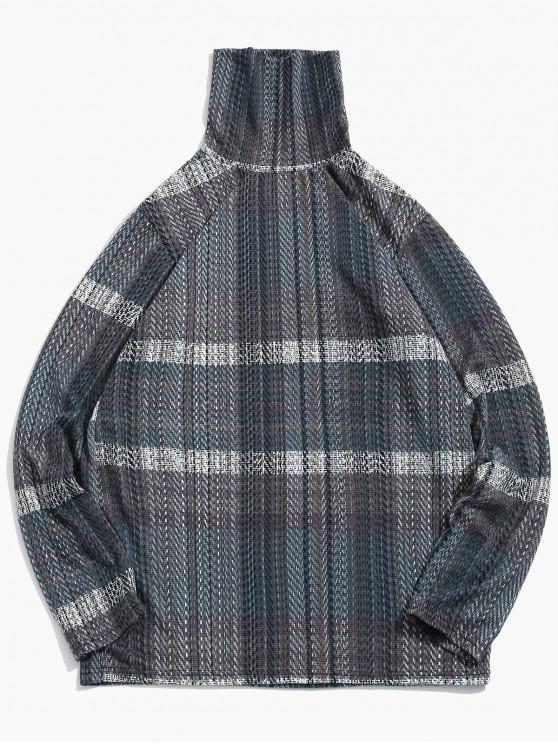 Lässiger Langen Ärmeln Rollkragen T-Shirt - Grau S