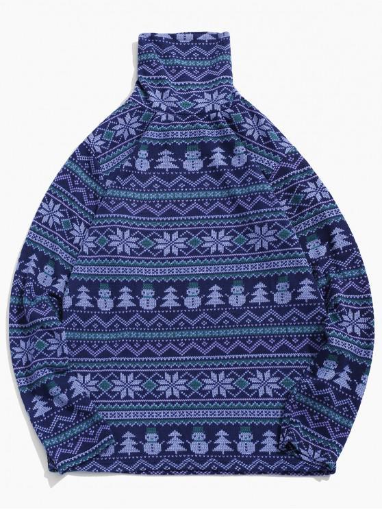 Schneeflocke Schneemann Muster Rollkragen T-Shirt - Lavendel Blau XL