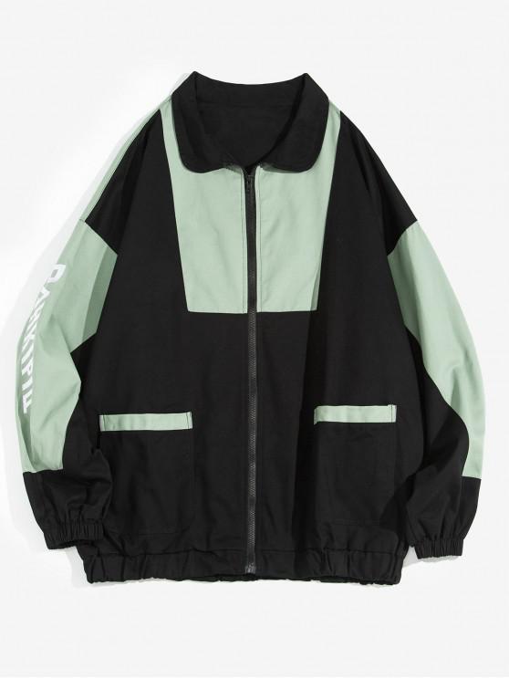 hot Color-blocking Letter Printed Zipper Jacket - BLACK L