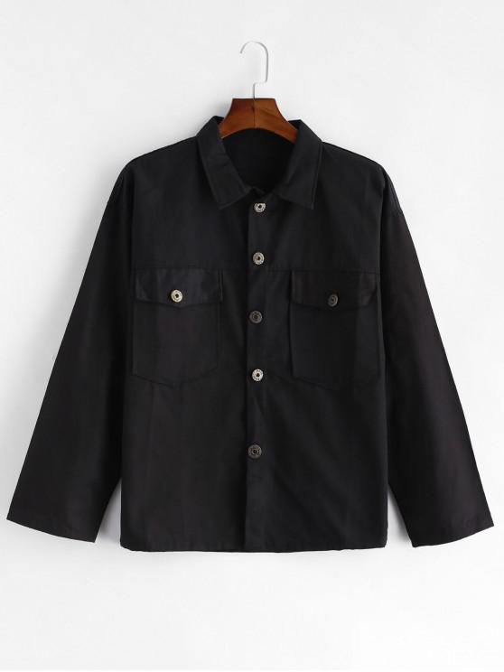lady Solid Color Pocket Design Button Jacket - BLACK M