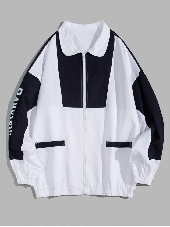 shops Color-blocking Letter Printed Zipper Jacket - WHITE 2XL