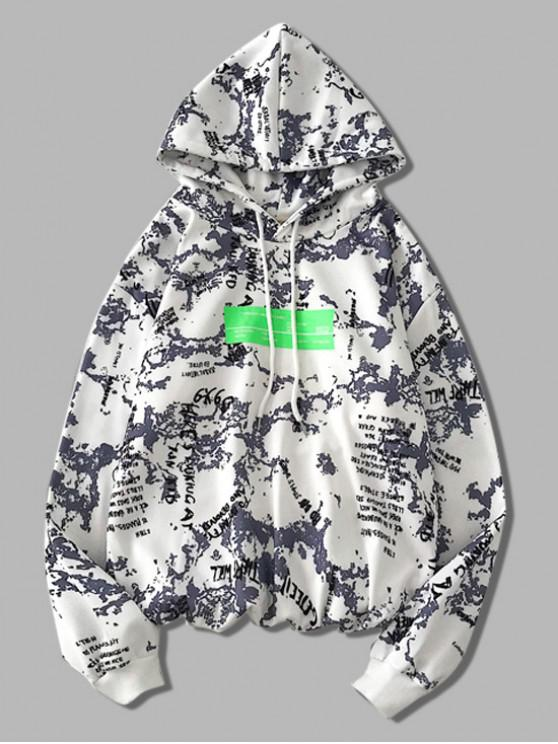 lady Letter Graphic Print Drawstring Hoodie - WHITE M