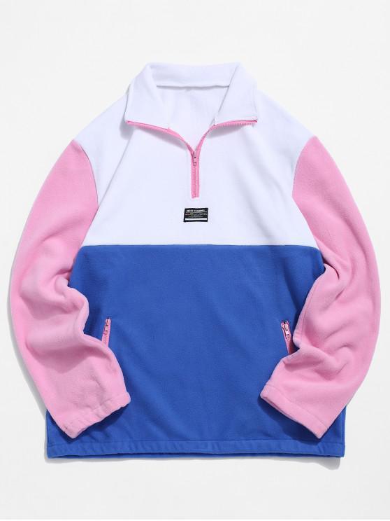 best Colorblock Splicing Half Zipper Fuzzy Pullover Sweatshirt - WHITE XL