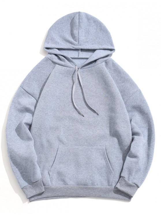 fashion Solid Color Pocket Design Casual Hoodie - GRAY CLOUD 2XL