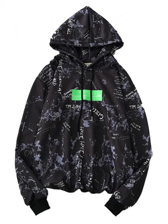 sale Letter Graphic Print Drawstring Hoodie - BLACK XL