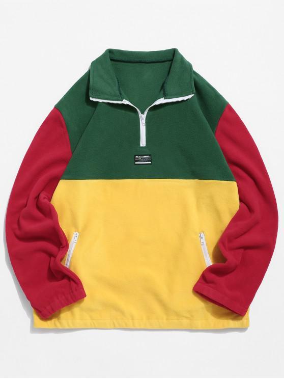 women Colorblock Splicing Half Zipper Fuzzy Pullover Sweatshirt - JUNGLE GREEN 2XL