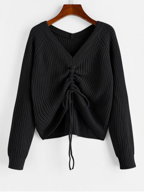 buy ZAFUL V Neck Shirred Ribbed High Low Sweater - BLACK S