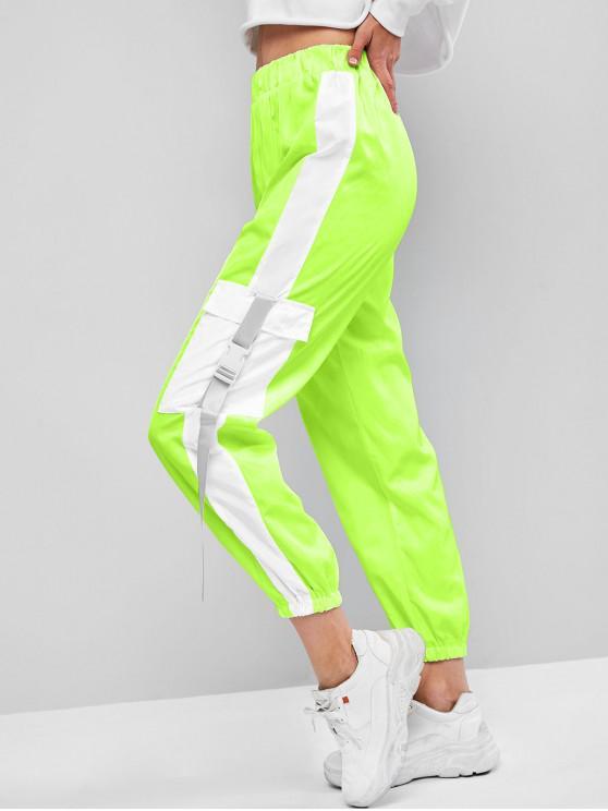 new Flap Pockets Push Buckle Colorblock Jogger Pants - TEA GREEN XL