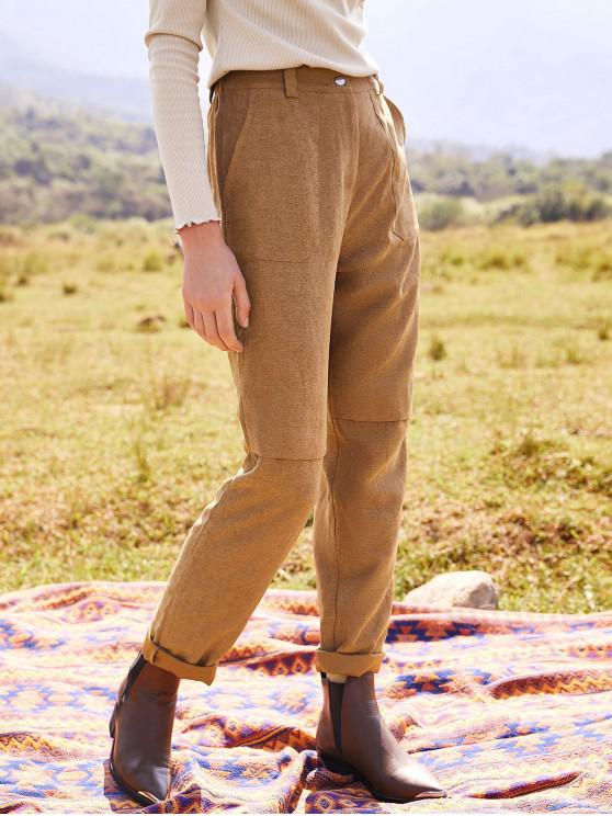 lady ZAFUL High Waisted Solid Pockets Straight Pants - CAMEL BROWN XL