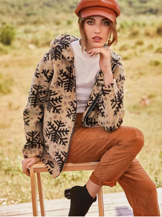 shops ZAFUL Christmas Snowflake Hooded Zip Fluffy Teddy Coat - CAMEL BROWN XL