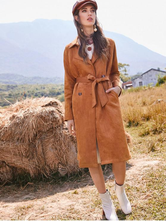 buy ZAFUL Double Breasted Faux Suede Belted Pocket Trench Coat - TIGER ORANGE M