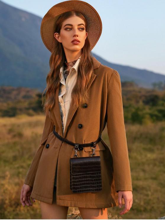 trendy ZAFUL Notch Lapel Wool Blend Double Breasted Coat - LIGHT KHAKI L