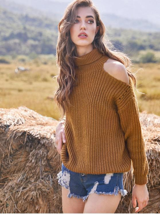 outfit ZAFUL Drop Shoulder Pullover Cut Out Turtleneck Sweater - LIGHT BROWN M