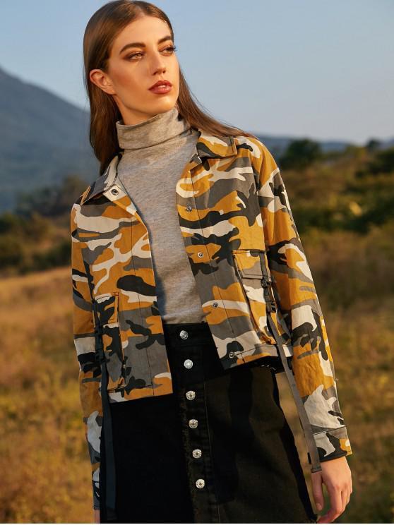 ZAFUL spinta fibbia tasche con patta Camouflage Giacca - Multi Colori-B M
