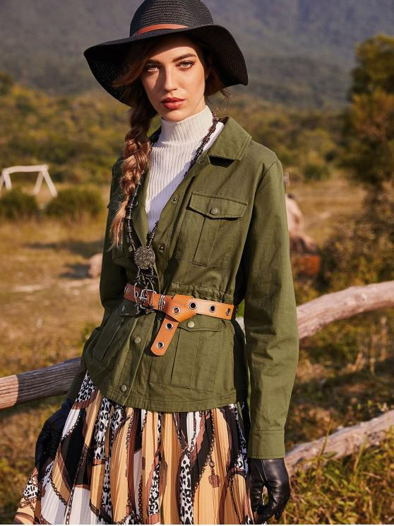ZAFUL tasca della falda Snap Jacket Button coulisse - Verde Dell'esercito XL