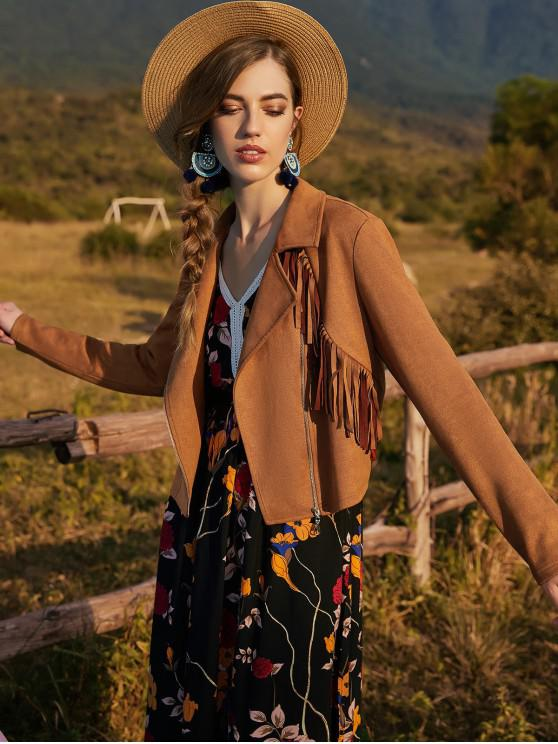 outfits ZAFUL Fringed Jacket - LIGHT BROWN L