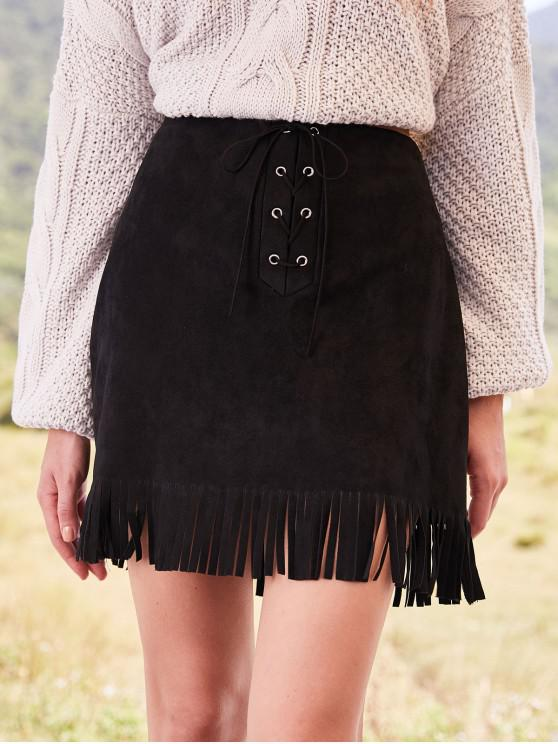 fancy ZAFUL Lace-up Fringed Suede Skirt - BLACK M