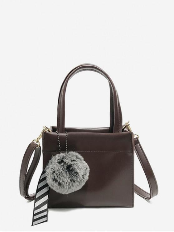 affordable Fuzzy Ball Pendant Small Shoulder Bag - PUCE