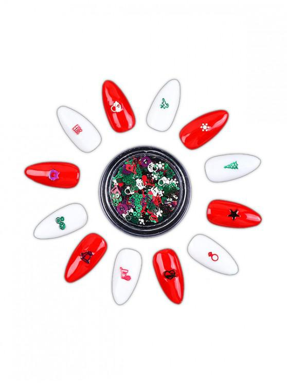 online Glitter Hollowed Christmas Nail Decoration - RED