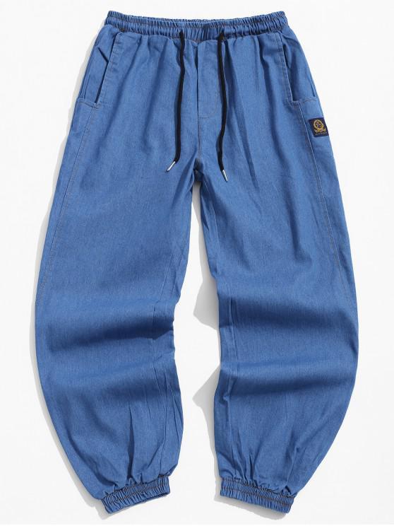 shops Letter Pattern Drawstring Pocket Design Pants - BLUE XS