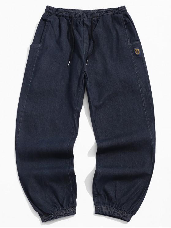 womens Letter Pattern Drawstring Pocket Design Pants - BLACK XS