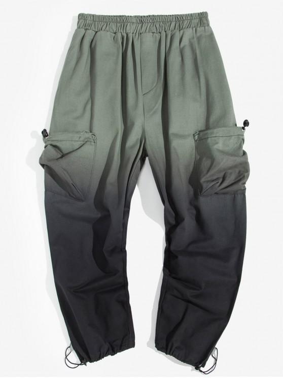shop Ombre Printed Pocket Decoration Jogger Pants - GRAY M