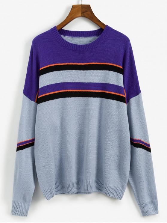 buy Casual Color Spliced Round Neck Sweater - PURPLE M