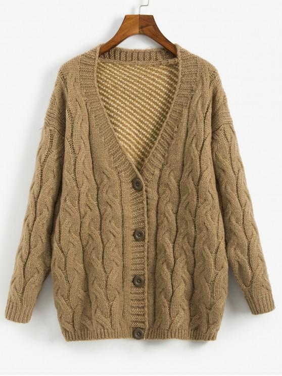shop Solid Color Button Design Cable Knit Cardigan - BROWN XL